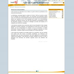 INED - Ressources et documentation