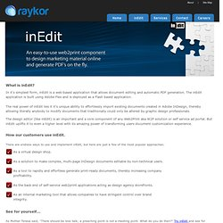 inEdit | Online InDesign Document Editor for - Web to Print | Dynamic Publishing | Self Service Documents | InDesign Server