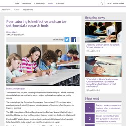 Peer tutoring is ineffective and can be detrimental, research finds