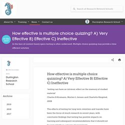 How effective is multiple choice quizzing? A) Very Effective B) Effective C) Ineffective