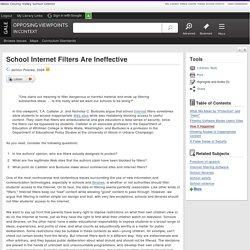 School Internet Filters Are Ineffective - Opposing Viewpoints in Context