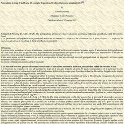 Note minime in tema di inefficacia del contratto d'appalto nel Codice del processo amministrativo