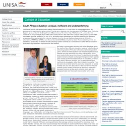 South African education: unequal, inefficient and underperforming « Unisa Online – College of Education