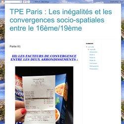TPE Paris : Les inégalités et les convergences socio-spatiales entre le 16ème/19ème : Partie III)