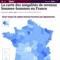 La carte des inégalités de revenus femmes-hommes en France