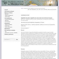 Inégalités de santé, inégalités de soins dans les territoires français