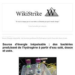 Source d'énergie inépuisable : des bactéries produisent de l'hydrogène à partir d'eau salé, douce et usée. - wikistrike.over-blog.com