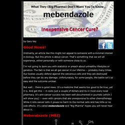 Inexpensive Cancer Killer: Mebendazole