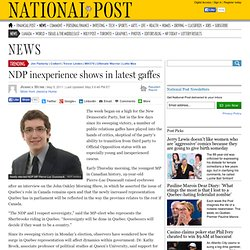 NDP inexperience shows in latest gaffes