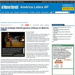 Ley de trabajo infantil genera críticas en Bolivia