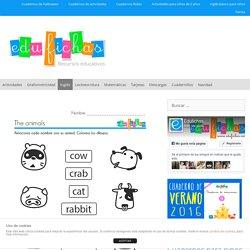 Ficha infantil con los nombres de los animales en inglés