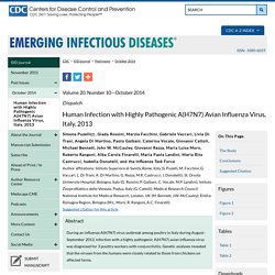 CDC EID - OCT 2014 - Human Infection with Highly Pathogenic A(H7N7) Avian Influenza Virus, Italy, 2013