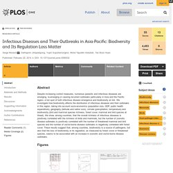 PLOS 25/02/14 Infectious Diseases and Their Outbreaks in Asia-Pacific: Biodiversity and Its Regulation Loss Matter