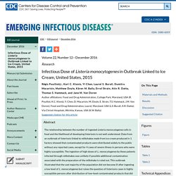 CDC EID - DEC 2016 - Au sommaire: Infectious Dose of Listeria monocytogenes in Outbreak Linked to Ice Cream, United States, 2015