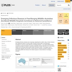 PLOS 01/05/14 Emerging Infectious Diseases in Free-Ranging Wildlife–Australian Zoo Based Wildlife Hospitals Contribute to National Surveillance