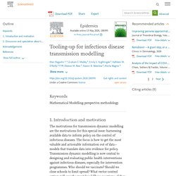 EPIDEMICS 13/05/20 Tooling-up for infectious disease transmission modelling
