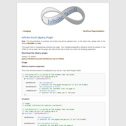 Infinite Scroll jQuery Plugin « Infinite Scroll | jQuery plugin, Wordpress plugin, interaction design pattern