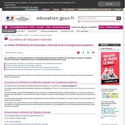 Le métier d'infirmier(e) de l'éducation nationale et de l'enseignement supérieur
