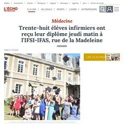Trente-huit élèves infirmiers ont reçu leur diplôme jeudi matin à l'IFSI-IFAS, rue de la Madeleine - Châteaudun (28200)