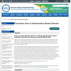 Preventive Care in Inflammatory Bowel Disease