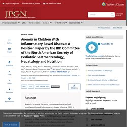 Anemia in Children With Inflammatory Bowel Disease: A Positi... : Journal of Pediatric Gastroenterology and Nutrition