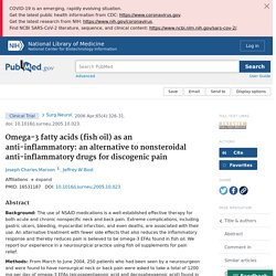 Omega-3 fatty acids (fish oil) as an anti-inflammatory: an alternative to nonsteroidal anti-inflammatory drugs for discogenic pain - PubMed