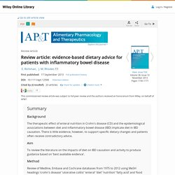Review article: evidence-based dietary advice for patients with inflammatory bowel disease - Richman - 2013 - Alimentary Pharmacology & Therapeutics