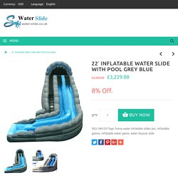 22' Inflatable Water Slide With Pool Grey Blue