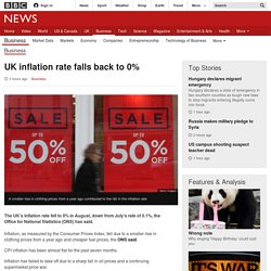 UK inflation rate falls back to 0% - BBC News