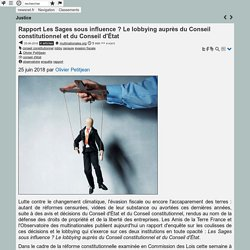 Rapport Les Sages sous influence ? Le lobbying auprès du Conseil constitutionnel et du Conseil d'État