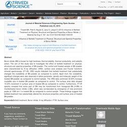 Boron Nitride - Influence of Mahendra Kumar Trivedi Biofield Treatment on Boron Nitride