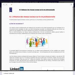 Activité n°9: L'influence des réseaux sociaux sur la vie professionnelle