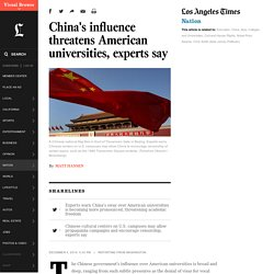China's influence threatens American universities, experts say