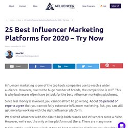 25 Best Influencer Marketing Platforms for 2020 –Try Now