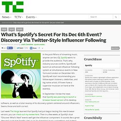 What's Spotify's Secret For Its Dec 6th Event? Discovery Via Twitter-Style Influencer Following