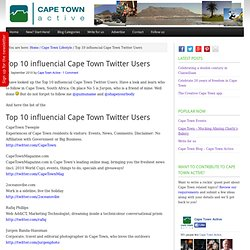 Top 10 influencial Cape Town Twitter Users