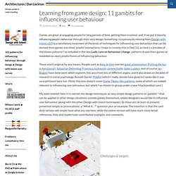 Learning from game design: 11 gambits for influencing user behaviour