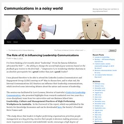 The Role of IC in Influencing Leadership Communications