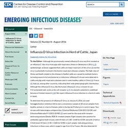 CDC EID - AOUT 2016 – Au sommaire notamment : Influenza D Virus Infection in Herd of Cattle, Japan