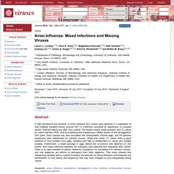 Viruses,Vol. 5, 2013: Avian Influenza: Mixed Infections and Missing Viruses