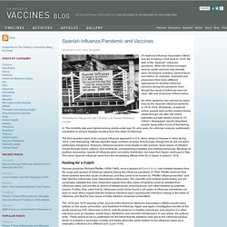 Spanish Influenza Pandemic and Vaccines — History of Vaccines