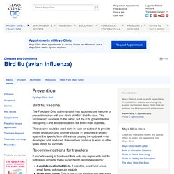 Bird flu (avian influenza) Prevention