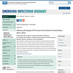 CDC EID - MAI 2014 - Au sommaire: Influenza A Subtype H3 Viruses in Feral Swine, United States, 2011–2012