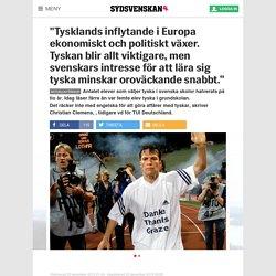 """""""Tysklands inflytande i Europa ekonomiskt och politiskt växer. Tyskan blir allt viktigare, men svenskars intresse för att lära sig tyska minskar oroväckande snabbt."""""""