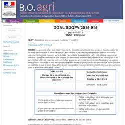 Instruction technique DGAL/SDQPV/2015-915 du 21-10-2015 Modalité de mise en oeuvre de l'arrêté du 14 mai 2014