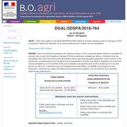 Instruction technique numéro : DGAL/SDSPA/2016-764 , signé(e) le : 27/09/2016 Cette note modifie la note DGAL/SDSPA/2016-639 relative à l'enquête influenza aviaire en élevage en 2016 en ajoutant le tableau de répartition de nouveaux prélèvements à réalis