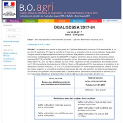 Note de service DGAL/SDSSA/2017-84 du 30-01-2017 Bilan de l'Opération Interministérielle Vacances - Opération Alimentation Vacances 2016.