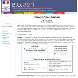 Instruction technique DGAL/SDPAL/2019-65 Publiée le 29-01-2019 Liste des méthodes officielles référencées pour la réalisation des analyses officielles de confirmation des tranquillisants dans les reins d'animaux, des résidus de chloramphénicol dans l'urin