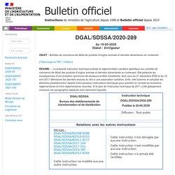 Instruction technique DGAL/SDSSA/2020-289 du 19-05-2020 Activités de commerce de détail de produits d'origine animale et denrées alimentaires en contenant.