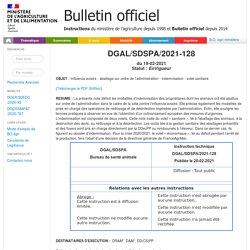 Instruction technique DGAL/SDSPA/2021-128 du 19-02-2021Influenza aviaire - abattage sur ordre de l'administration - indemnisation - volet sanitaire